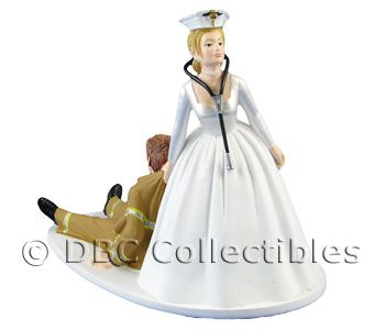 Nurse and a Firefighter wedding cake topper