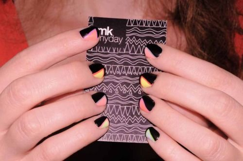 Black with pastel triangles