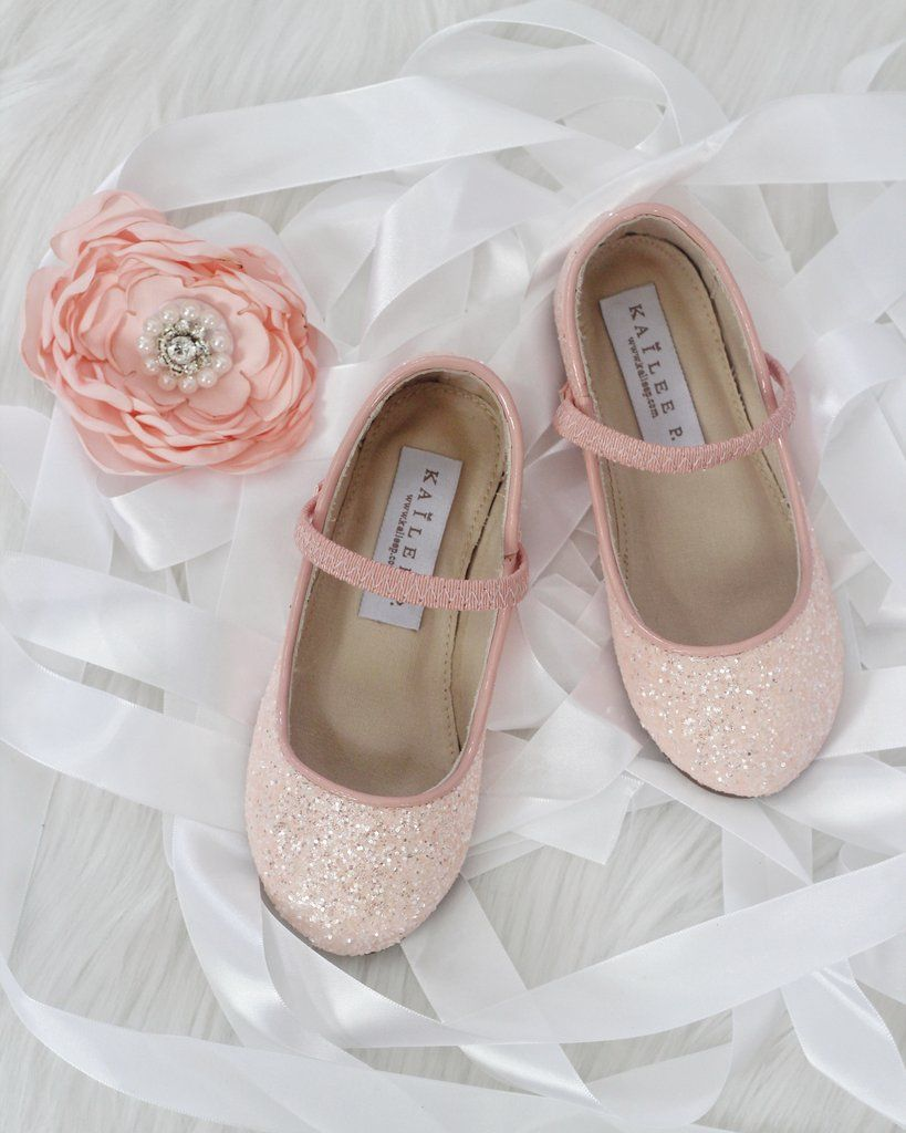 Girls Shoes Dusty Pink Rock Glitter Maryjane Ballet Flats Flower