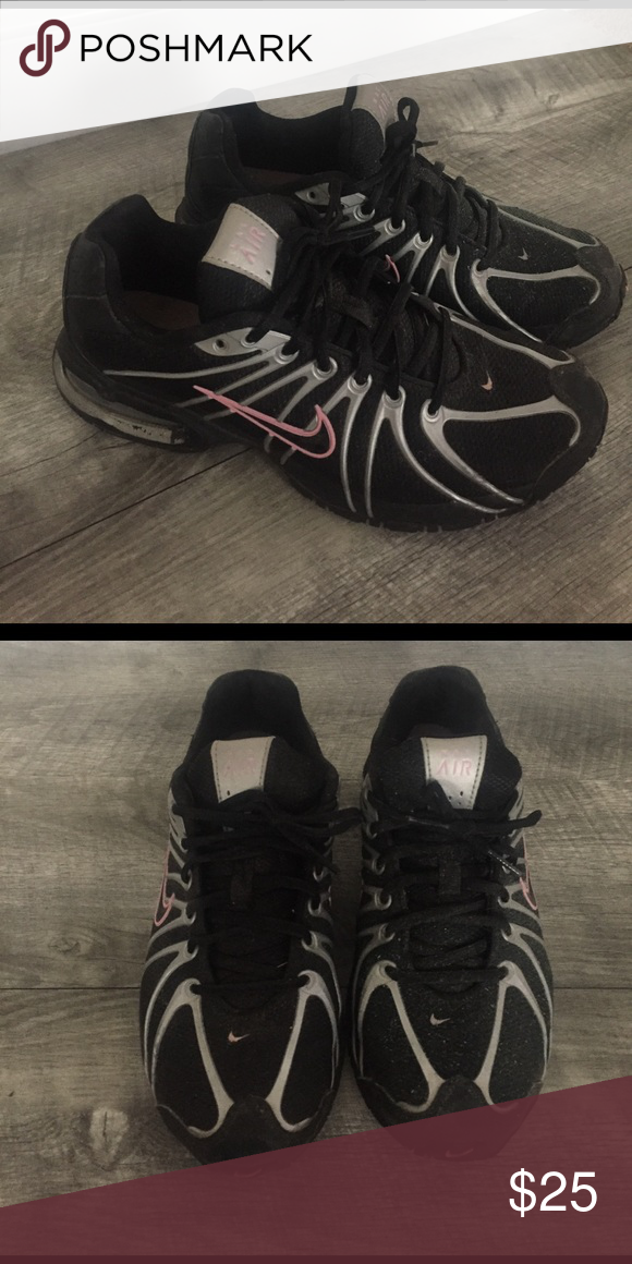 Max Air Nike Athletic Shoes Max Air Nike Athletic Shoes, great condition I just don't wear anymore. Priced reasonably for condition. Black/light pink Nike swish/ with silver accent 🌸 Nike Shoes Sneakers