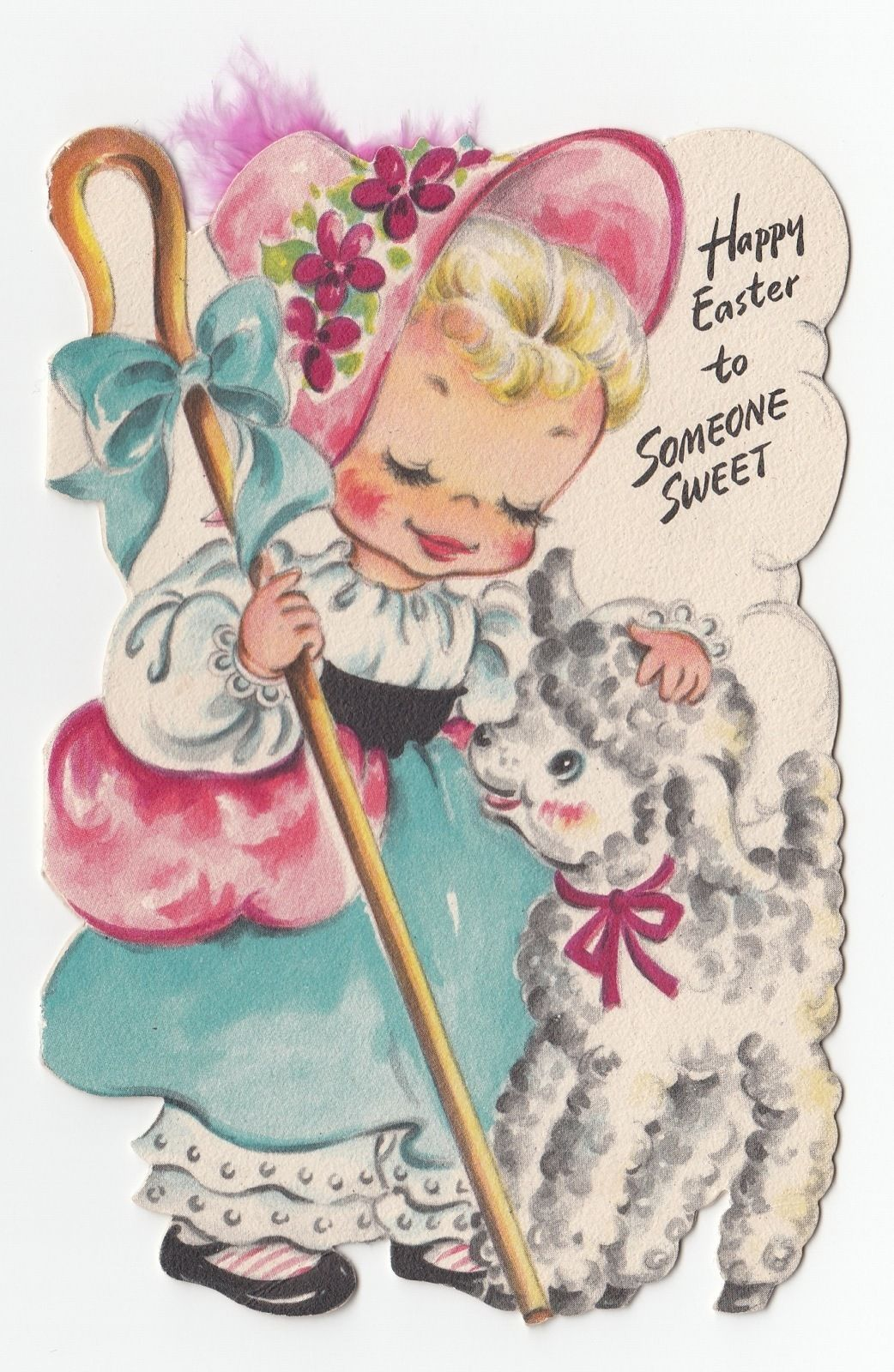 Vintage Greeting Card Easter Hallmark Die Cut 1940s Cute Little Girl Lamb Sheep