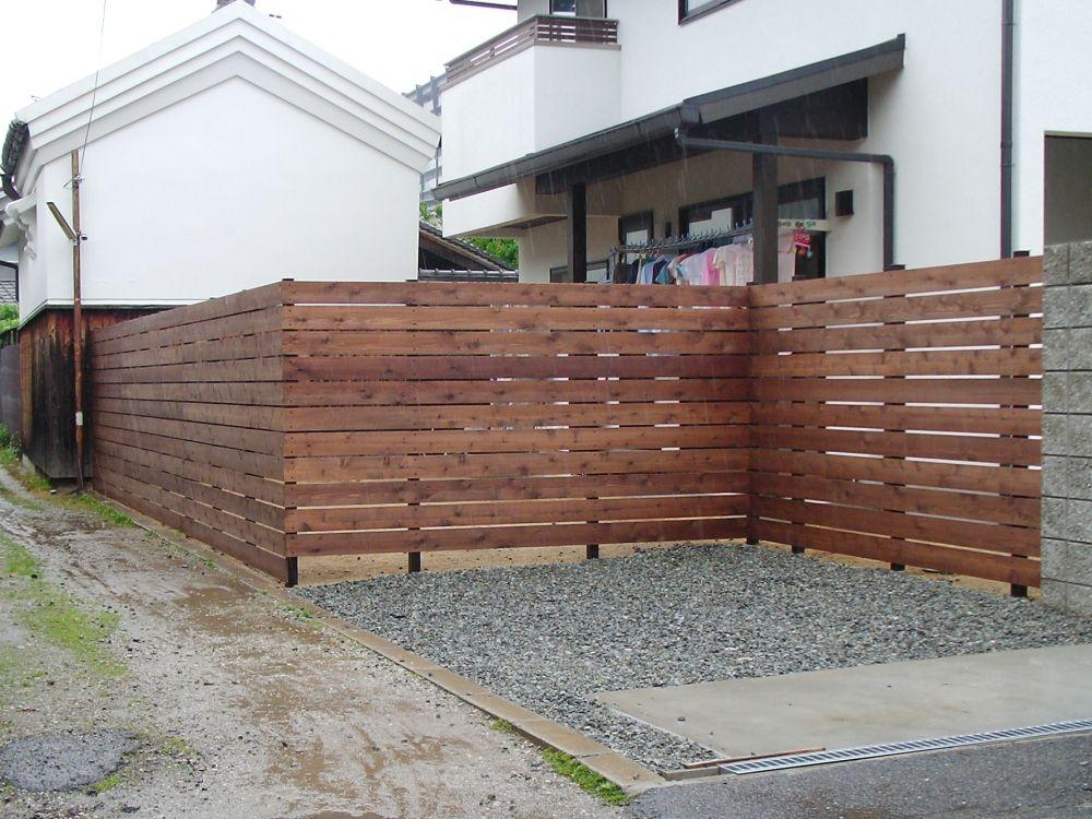木製目隠しフェンス 横板 フェンス 家 外構 施工