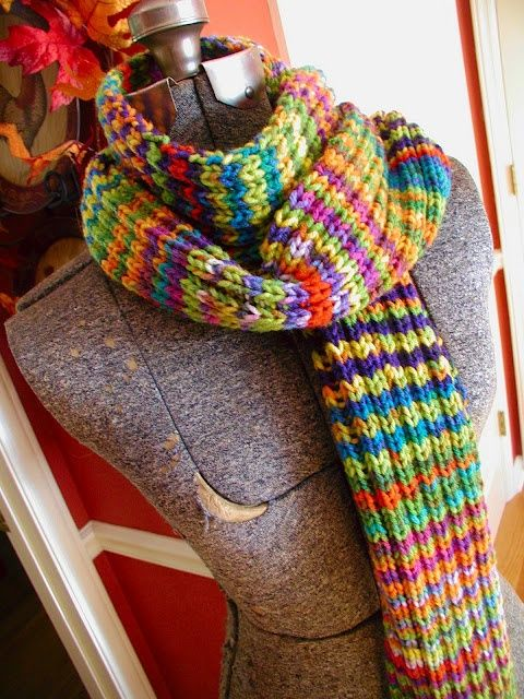 knit scarf using two different variegated yarns. LOVE ...