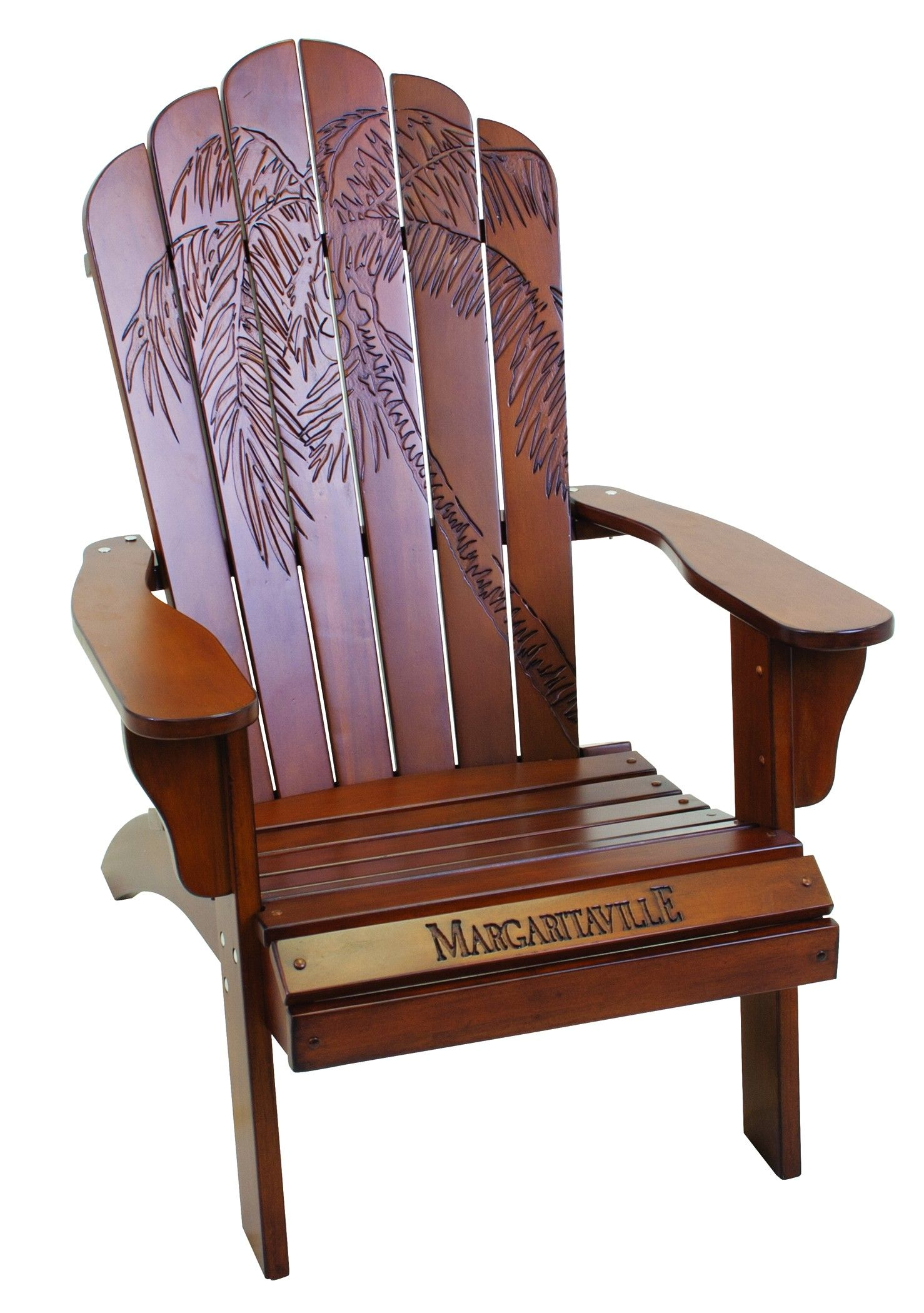 Margaritaville Chairs For Sale Big Bean Bag Walmart Adirondack Chair Wood Carved Palm Frond Cherry