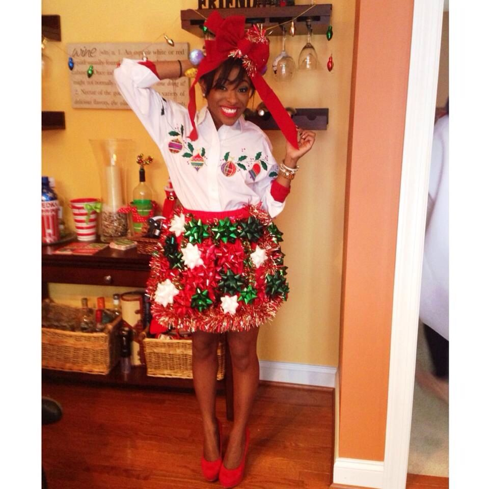 It's the most wonderful time of the year! // #tackyChristmas #uglyChristmassweater #ootd #christmas #bows