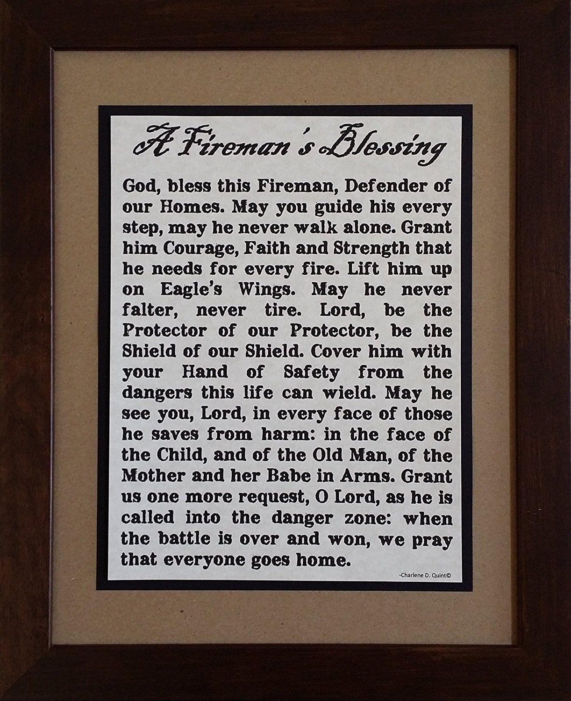 A firemans blessing framed inspirational