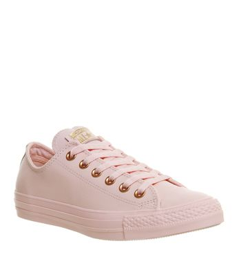Converse, All Star Low Leather Trainers, Vapour Pink Rose Gold Snake ...