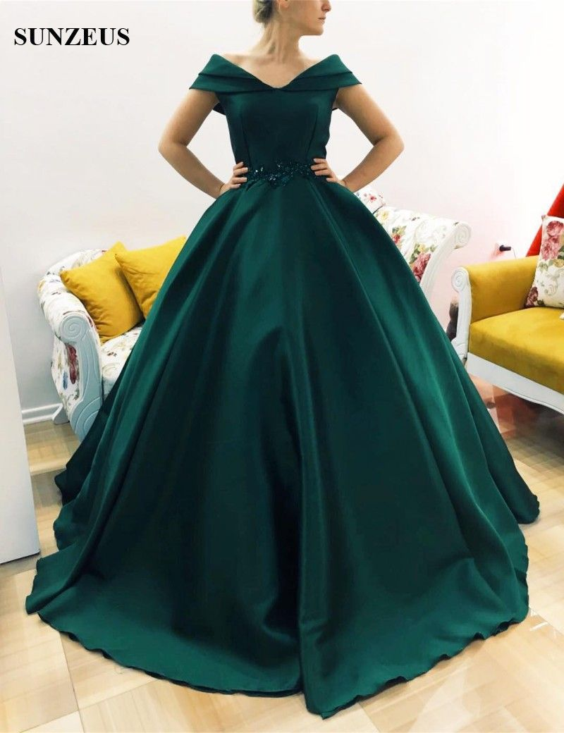 84e9d0cd897 Find More Prom Dresses Information about Dark Green Puffy Ball Gown Prom  Dresses 2017 Newly Sweetheart