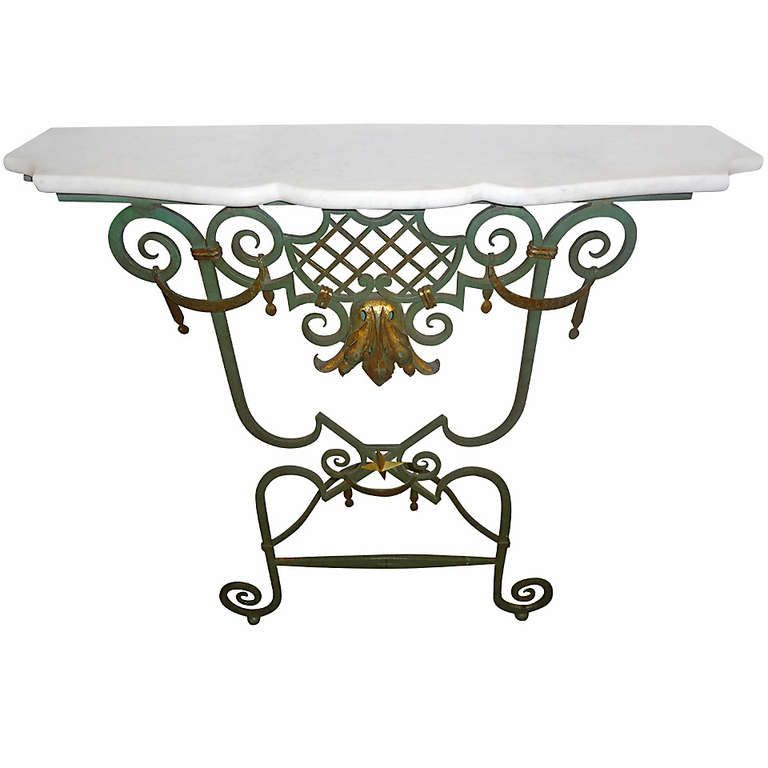 French 1940 S Wrought Iron Console Table From A Unique