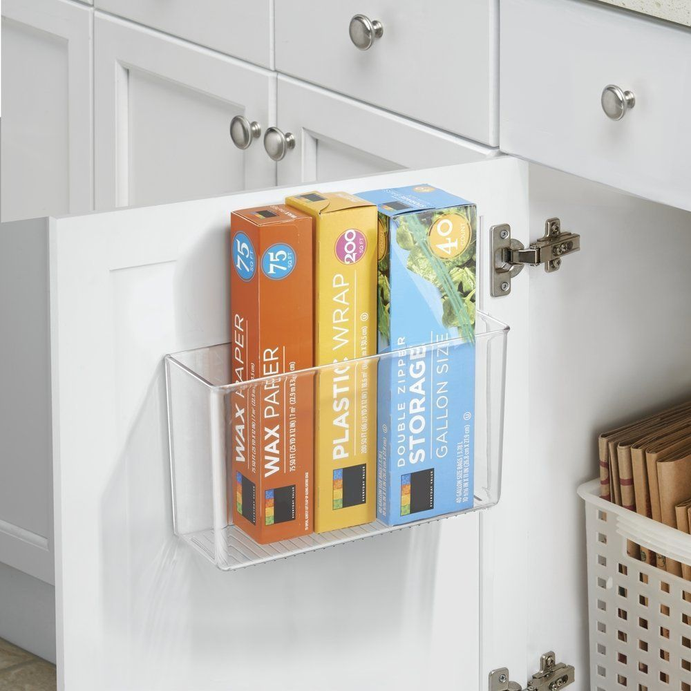 Adhesive acrylic caddy for kitchen or bathroom storage or ...