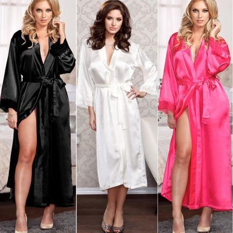 802f1796ecf Sexy Womens Summer Silk Lace Lingerie Robe Sleepwear Dress Bandage Long  Sleeve Robe Gown Babydoll Nightwear Nightdress Lingerie