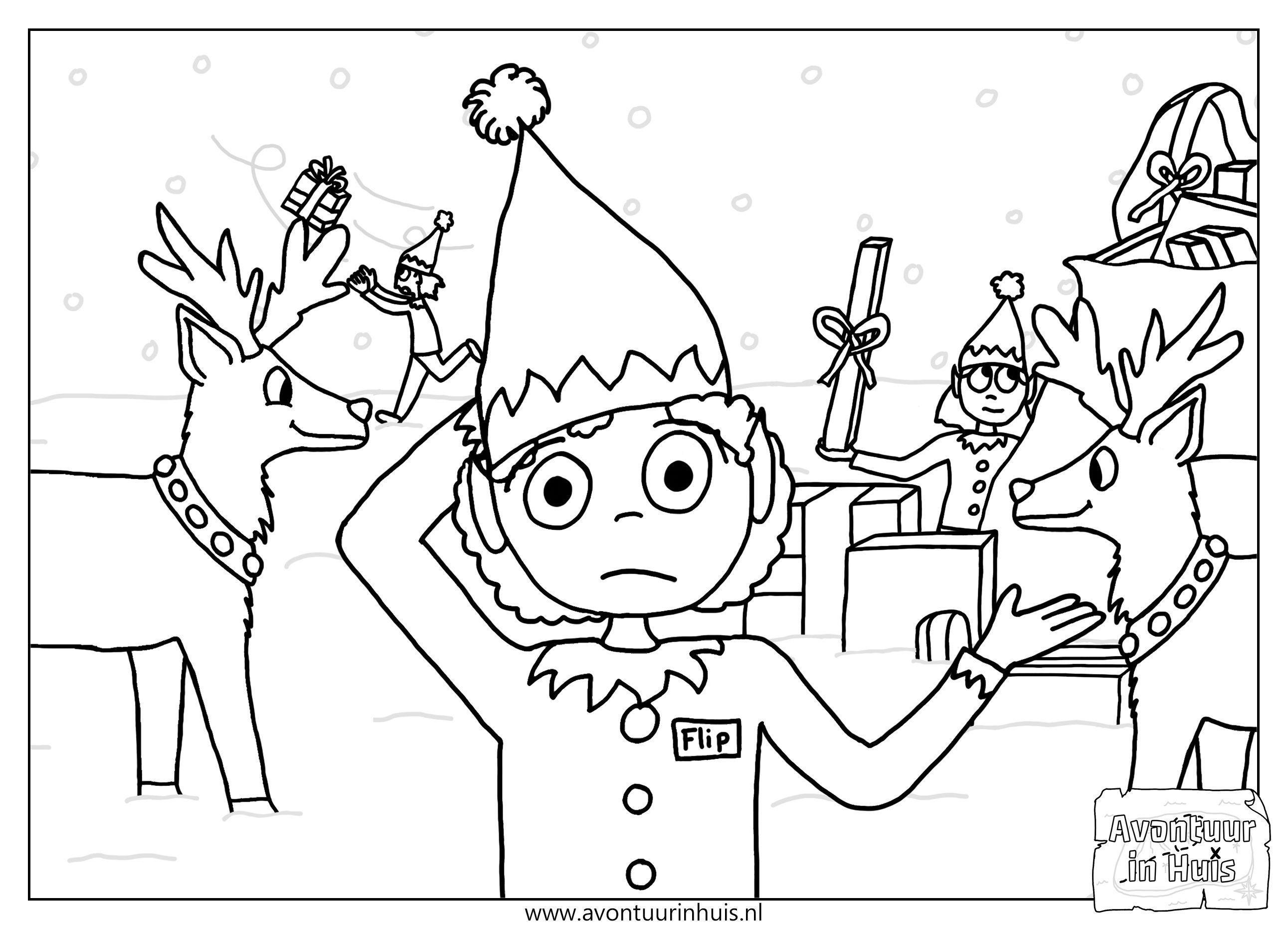 Kerstelf Zoekt De Kerstman Kleurplaten Voor Kinderen Kleurplaten Gratis Kleurplaten