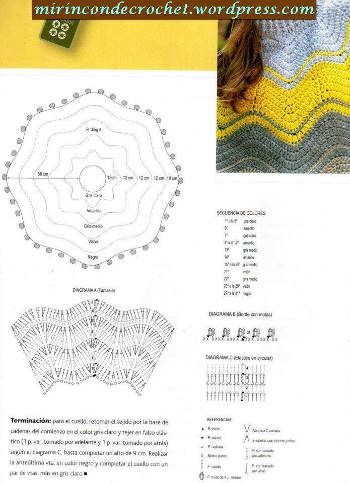 Poncho en zig zag | Crochet : châle | Pinterest | Capilla, Tejido y Ropa
