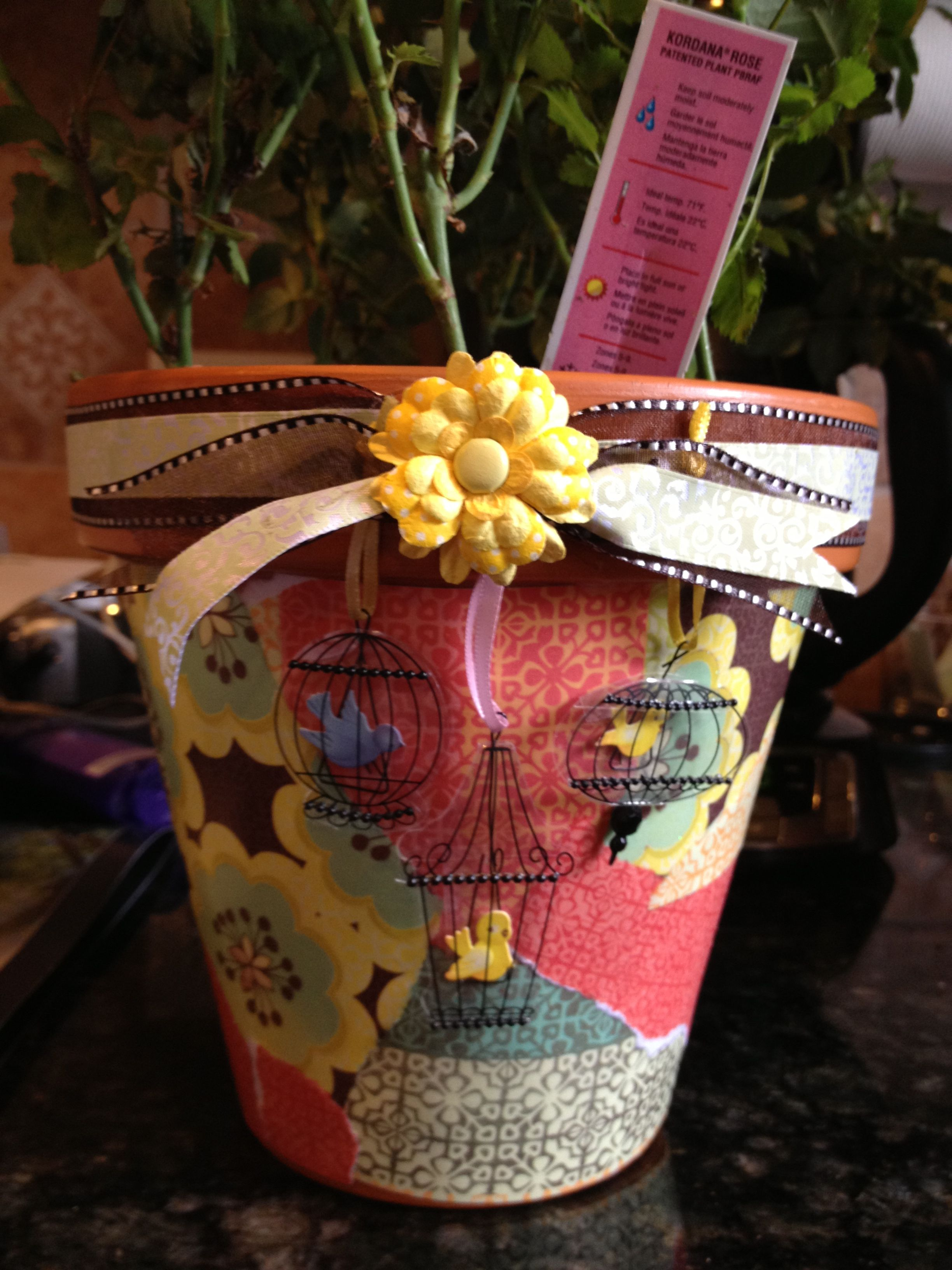 Clay Pot Decoupaged With Scrapbooking Paper Scraps Mother S Day