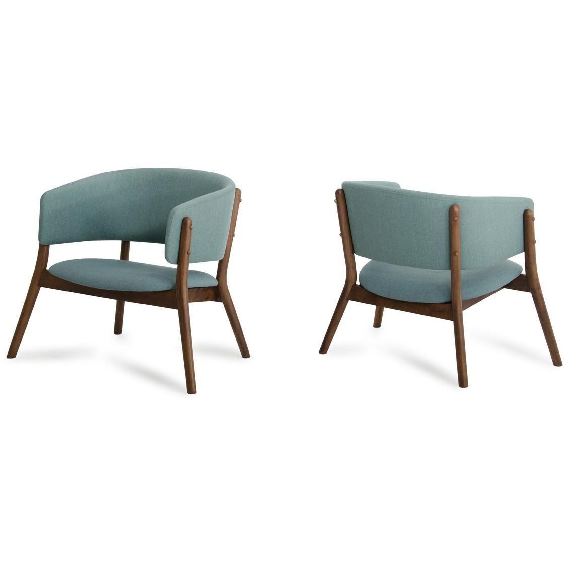 Dante Modern Blue Fabric Walnut Accent Chair Set Of 2