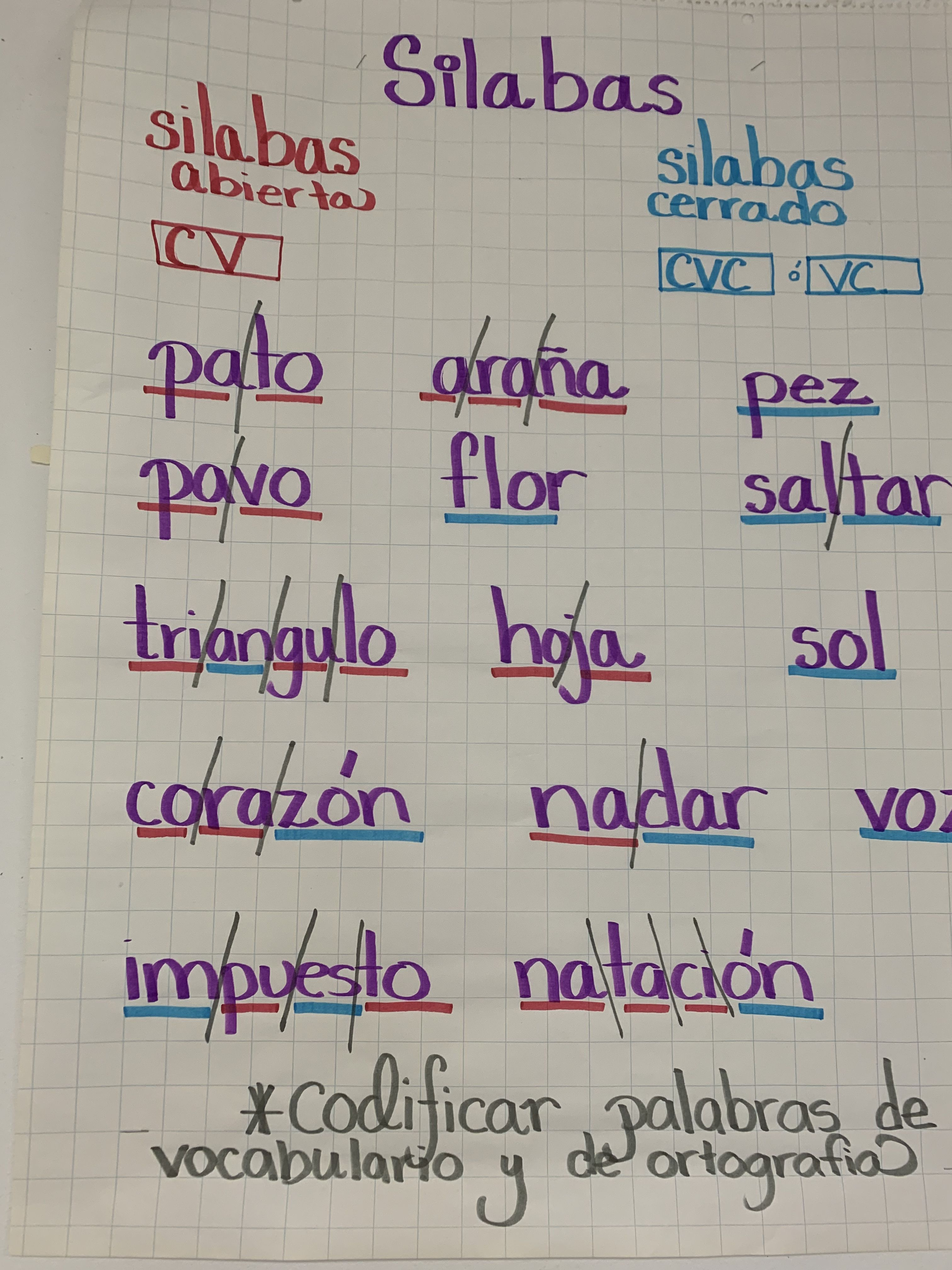 Students Code Their Spanish Words By Breaking Down Silabas
