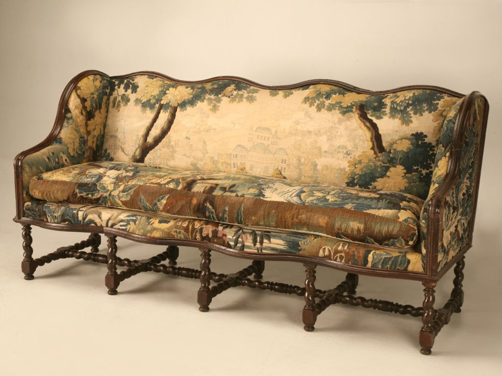 Original Antique French Louis Xiii Sofa With Earlier Aubusson Upholstery From A Unique Collection Of
