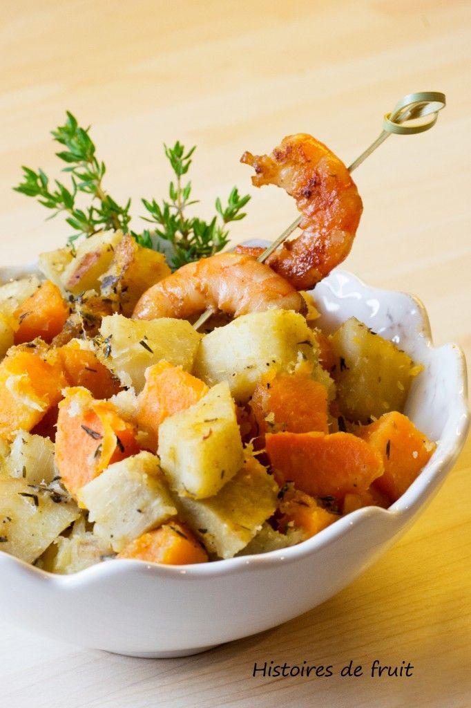 Duo de patates douces sautées et brochettes de crevettes à la sauce soja