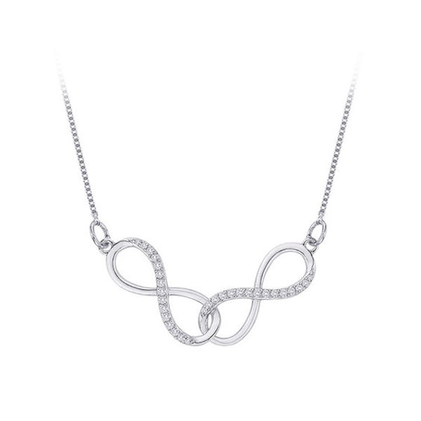 """Sterling Silver 1//6 CT Diamond Eternal Interlocking Inifinty Necklace 18/"""""""