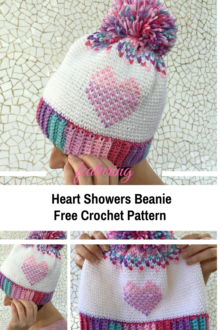 Crochet Heart Beanie Pattern Full Of Color And Contrast - Knit And Crochet  Daily 1d2a396fa32