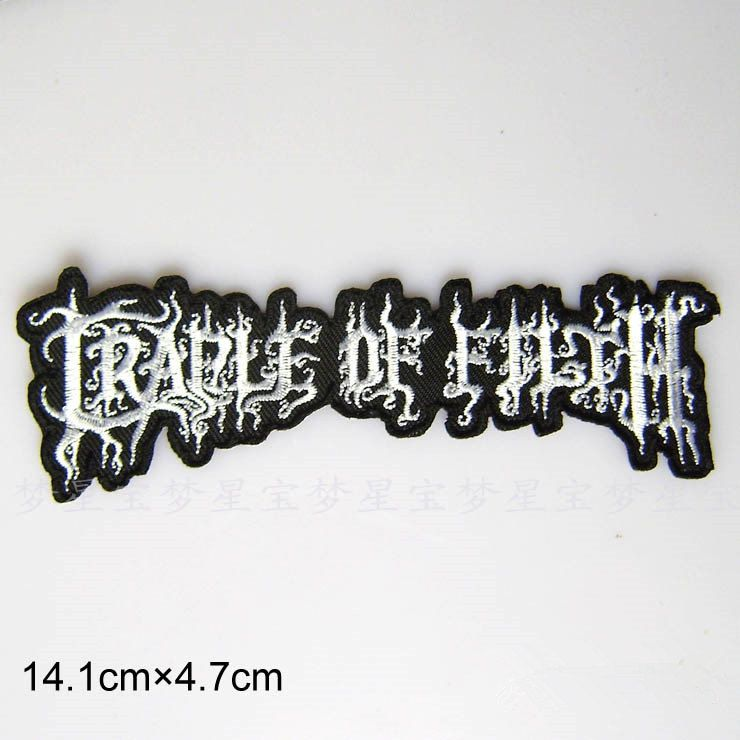 Metal bands Cradle of Filth band patch Embroidery monogram Applique patch  Embroidered patch iron on patch sew on patch 14.1*4.7cm(A96)