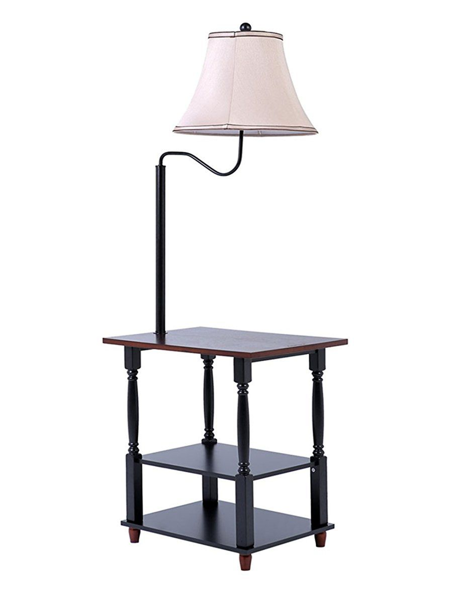 Madison Floor Lamp With End Table Swing Arm White Shade With Built In Two Tier Black Table With Open Display Space Combination Tray Lamp With Swing Arm White Living Room Modern End table with lamp built in