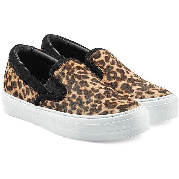 Leopard print slip on sneakers