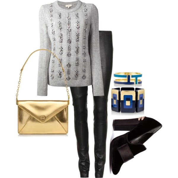 """""""Tory Burch: silver&gold"""" by bbethany on Polyvore"""