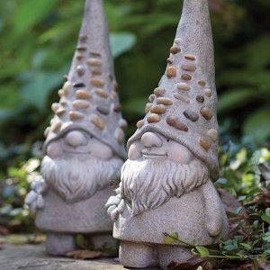 Delightful Set Of 2 Pebble Gnome Garden Statues