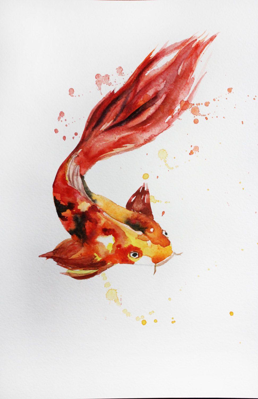 Original Watercolor Painting Koi Fish, Fish art, for children room ...