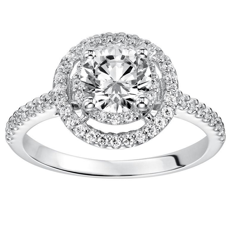 MAJESTY Double Halo Diamond Engagement Ring Diamond Accented Band