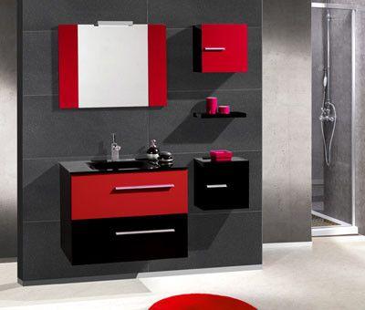 Muebles de ba o con color ba o pinterest decoraci n for Accesorios bano rojo