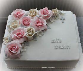 Ellan rippijuhlaan toiveena oli neliskanttinen kakku vaaleanpunaisilla ja valkoisilla ruusuilla hopeanharmain tehostein :)         Kakku mi...
