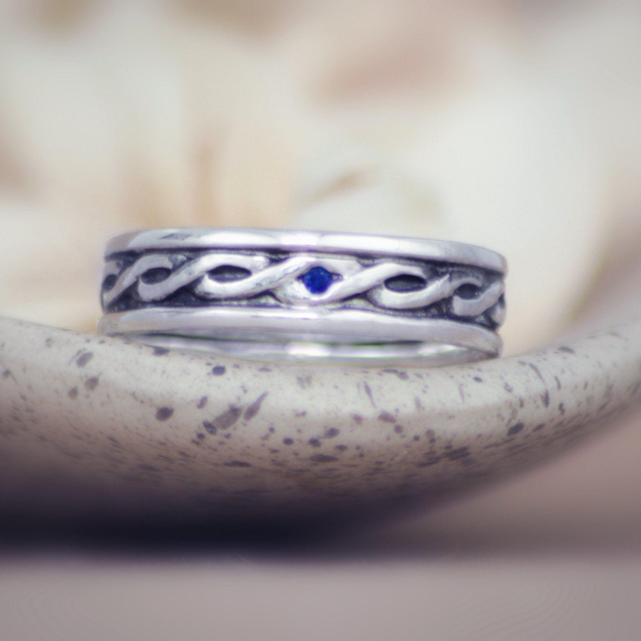 Sterling silver irish celtic knot unisex engagement wedding band