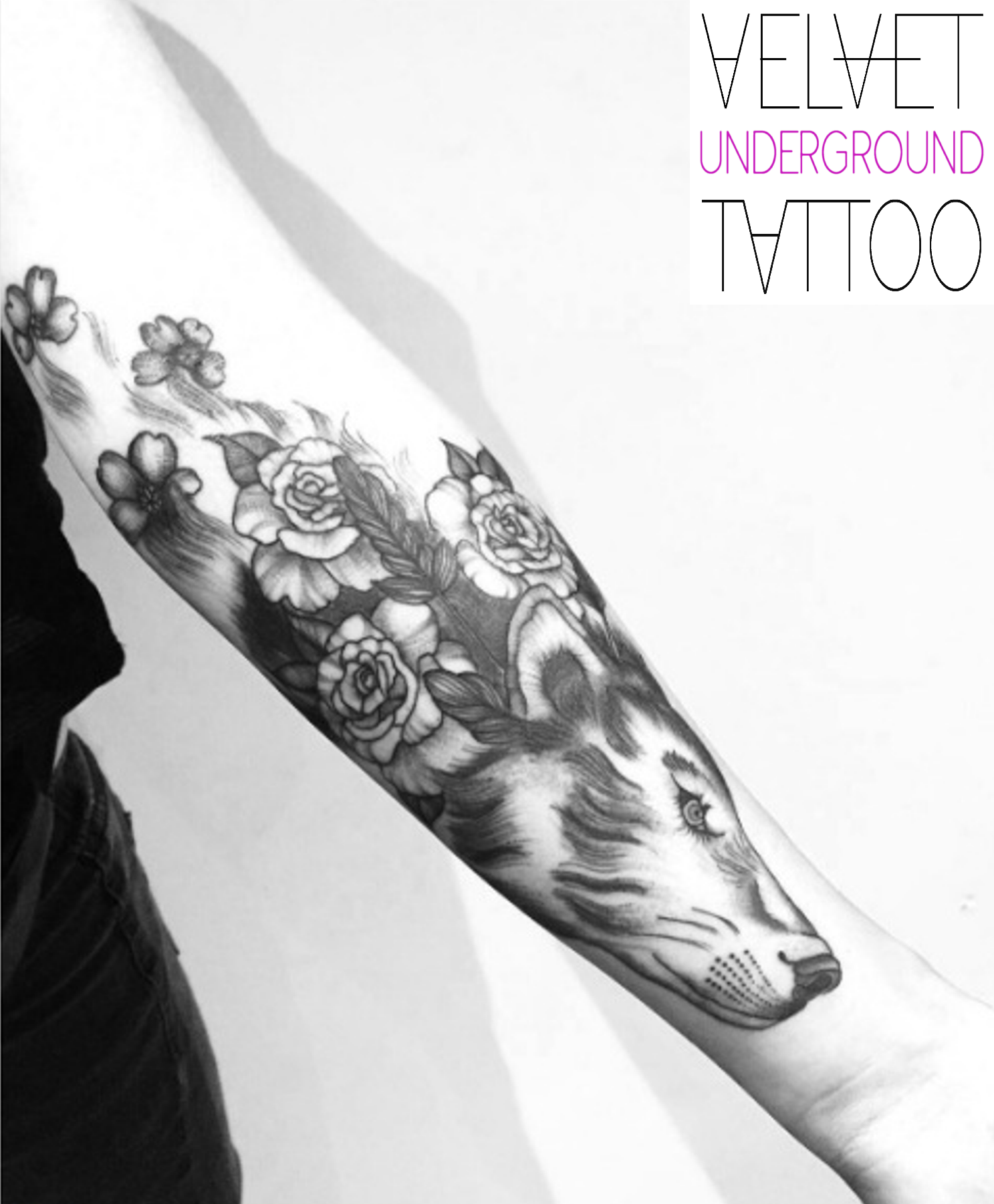 Black And Grey Floral Wolf Tattoo By Emily Brown At Velvet Underground Tattoo Best Tattoos For Women Underground Tattoo Tattoo Shop