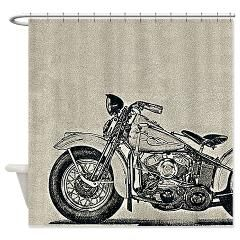 vintage racer motorcycle shower curtain