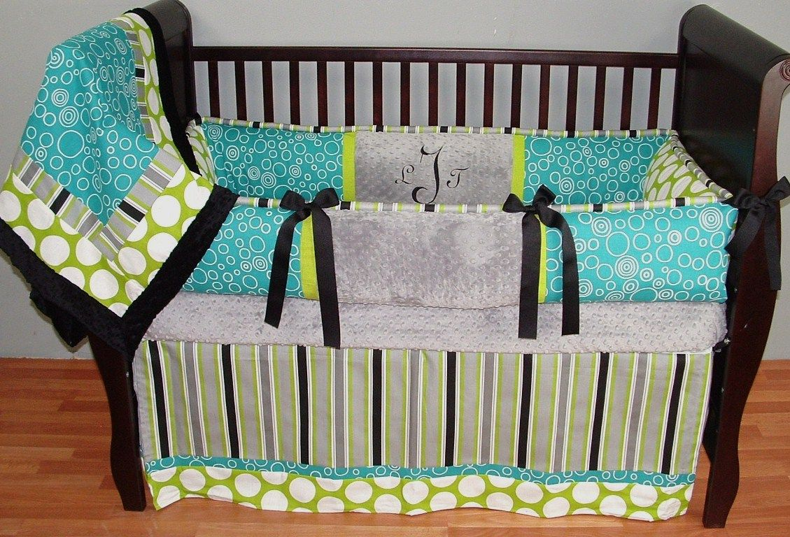 Preston Teal Baby Bedding Black Lime Gray And White In Circles Dots Stripe Designer Cotton Fabrics Make This A Truly Unique Modern Crib