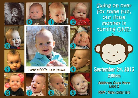Mod Monkey Invitation Photo Mod Monkey Invite 1st Birthday Boy 0