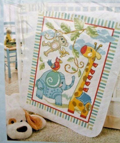 Dimensions Stamped Cross Stitch Safari Animals DIY Baby Quilt Kit 34 x 43