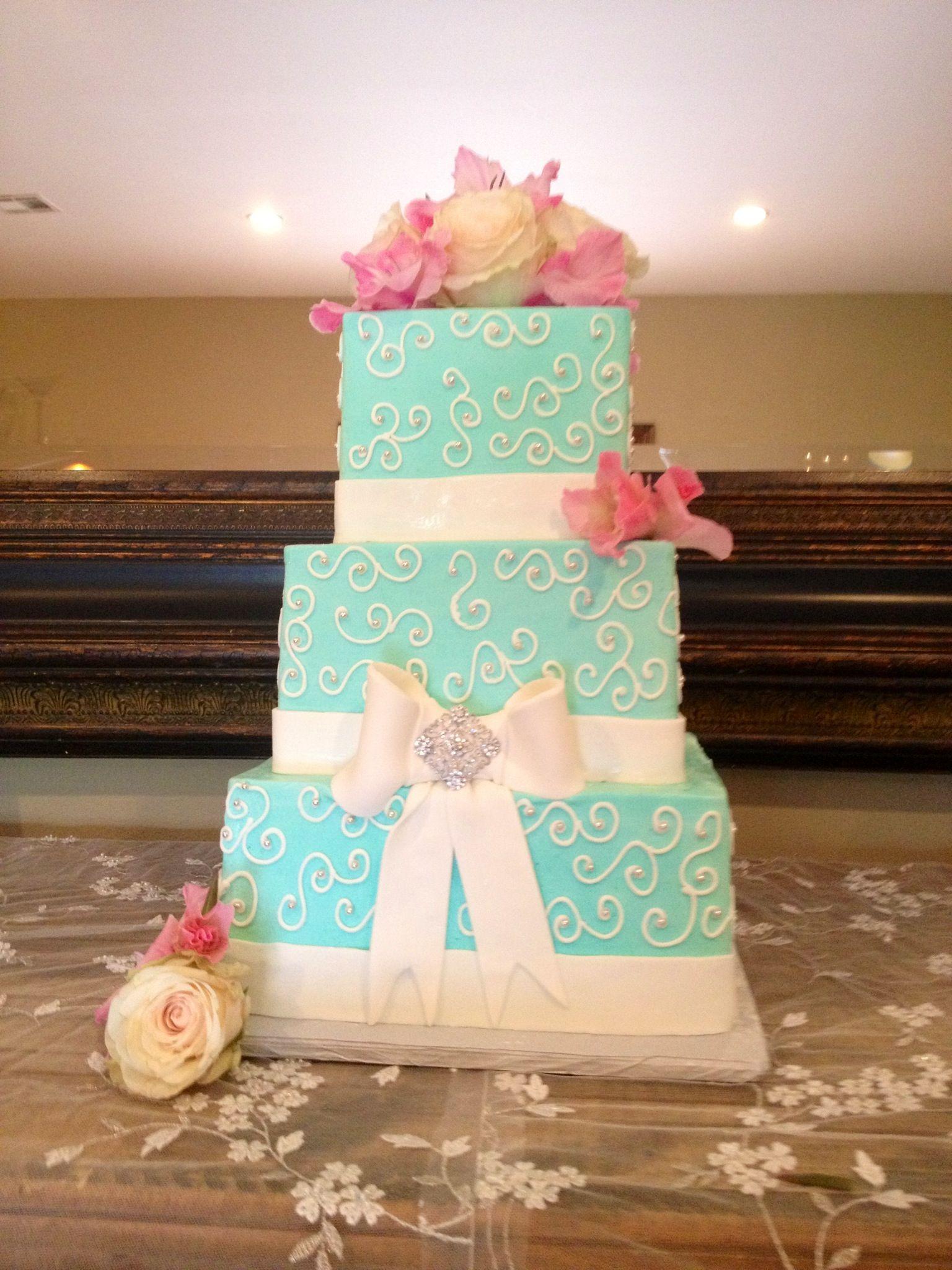 Tiffany Blue Wedding Cake Pink Flowers Wedding Cakes