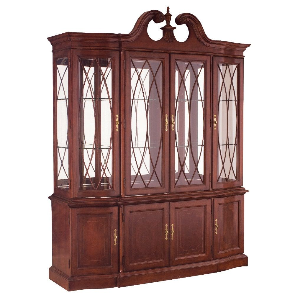 The breakfront china cabinet features a mirror back adjustable