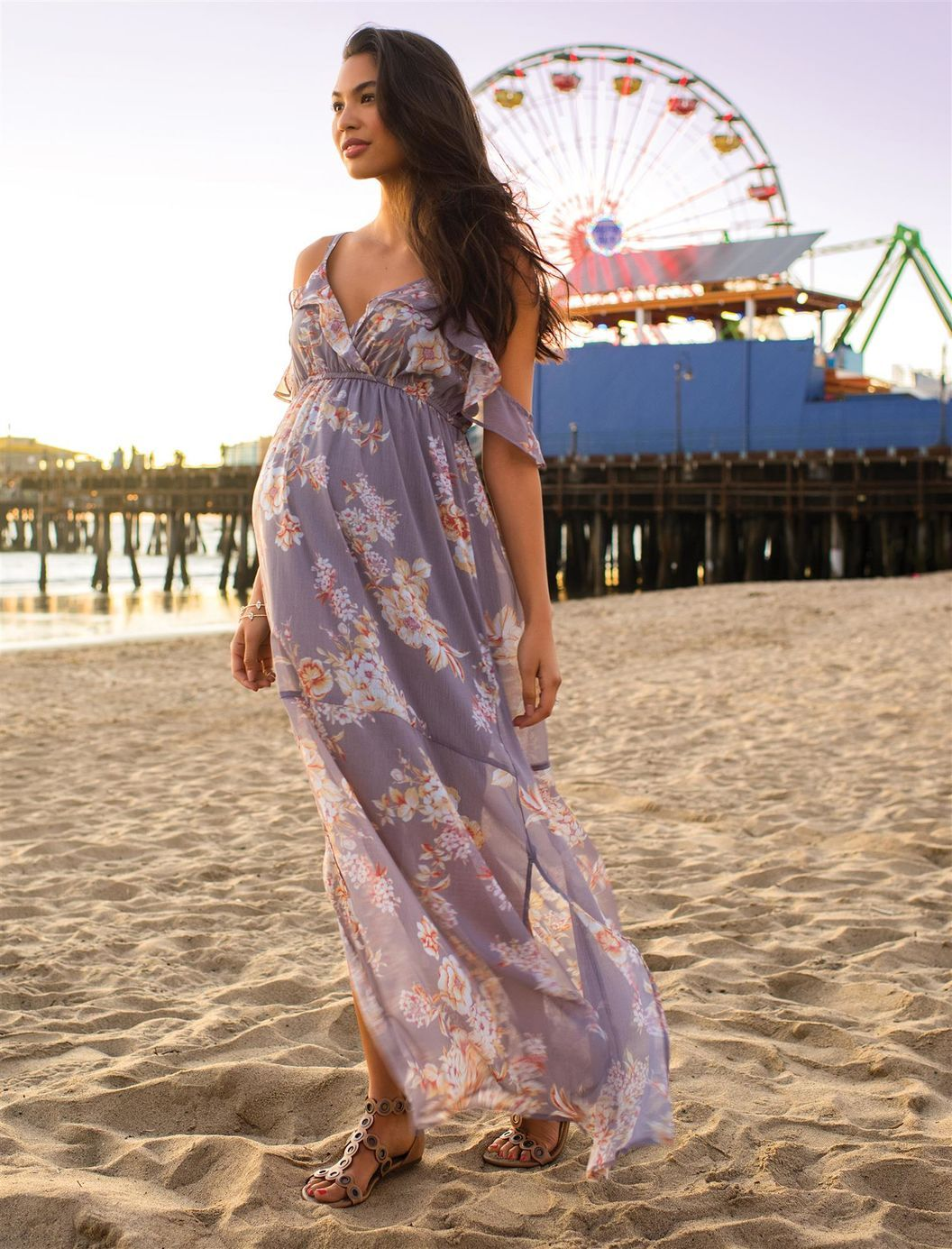 2bd152ff6f8 Ruffled Maternity Maxi Dress in light purple and florals