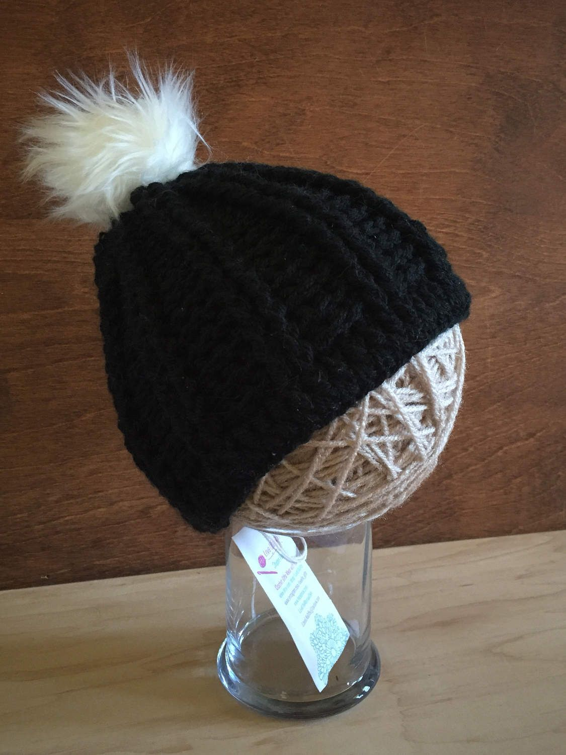 a0d4d56f7af Toddler Black Fur Pom Pom Hat