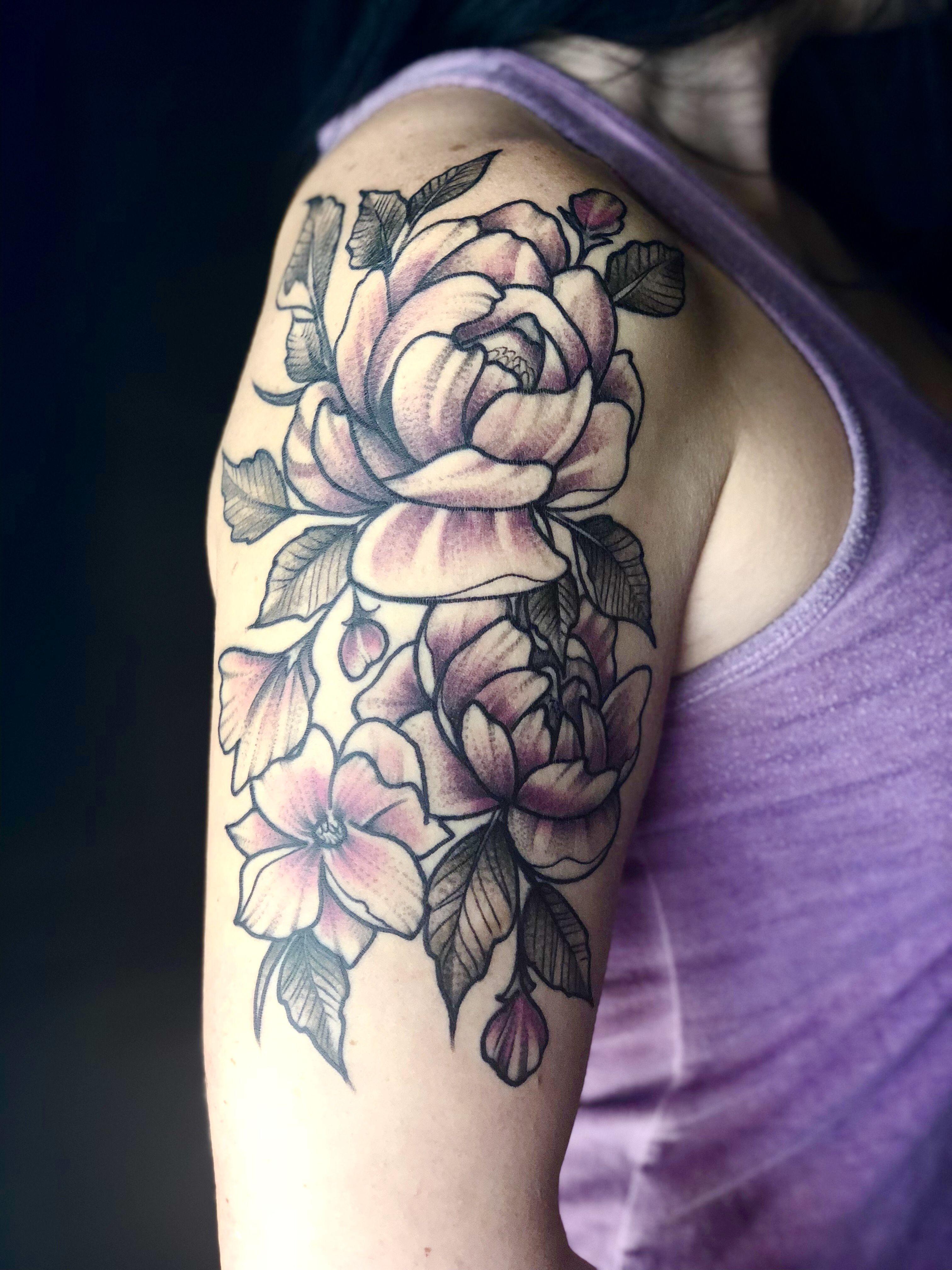 Flower tattoo, peonies, vintage. @izic86   Flower tattoo ...