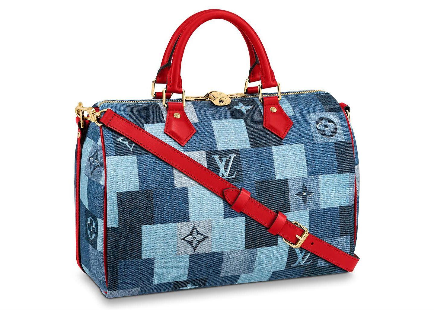 Pre Owned Louis Vuitton Speedy Bandouliere 30 Denim Monogram Check Blue Red Modesens In 2020 Louis Vuitton Speedy Bandouliere Louis Vuitton Handbags Speedy Louis Vuitton