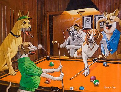 4 Unframed Comical Print Of Dogs Playing Pool By Arthur Sarnoff
