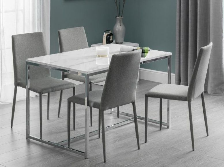 Clearance Half Price Julian Bowen Scala White Marble And Chrome Dining Table New 621 In 2020 Chrome Dining Table Dining Table Marble Top Dining Table
