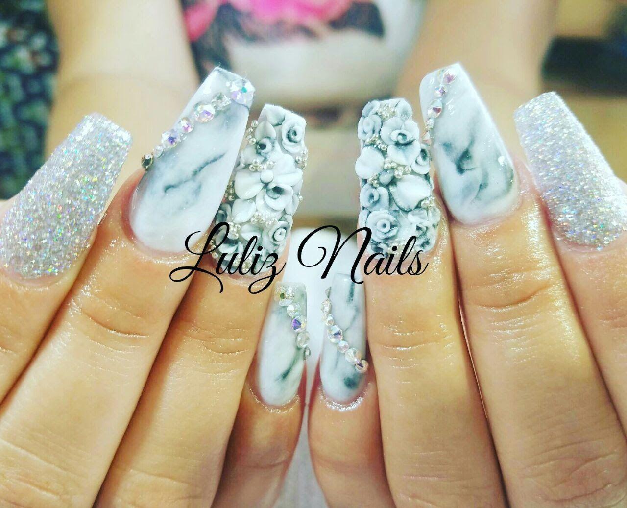 Uñas efecto mármol / how to marble nails/ luliz nails   RÉSINE 3d ...