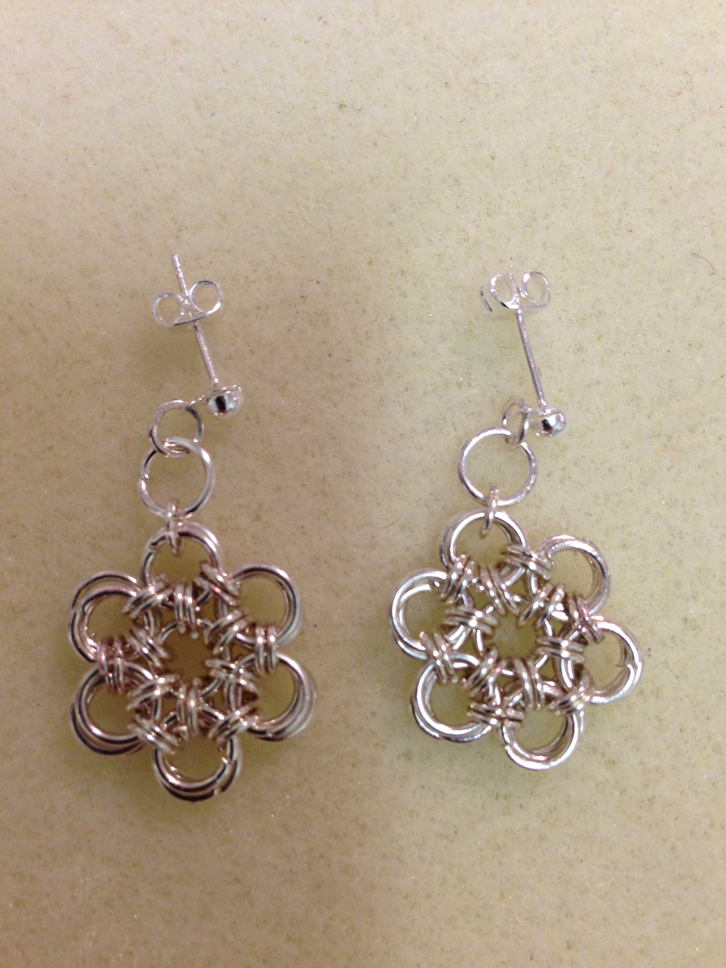 Japanese 12-2 chain mail earrings I made using jump rings