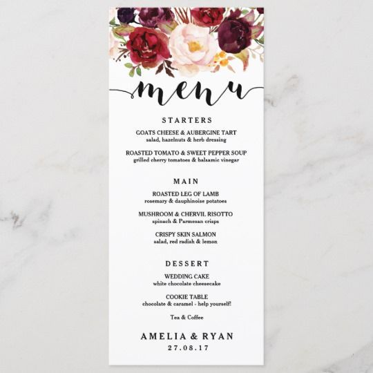 Floral Burgundy Wedding Menu Card #weddingmenuideas